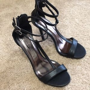 Shoes - WILD DIVA BLACK STRAPPY HEELS
